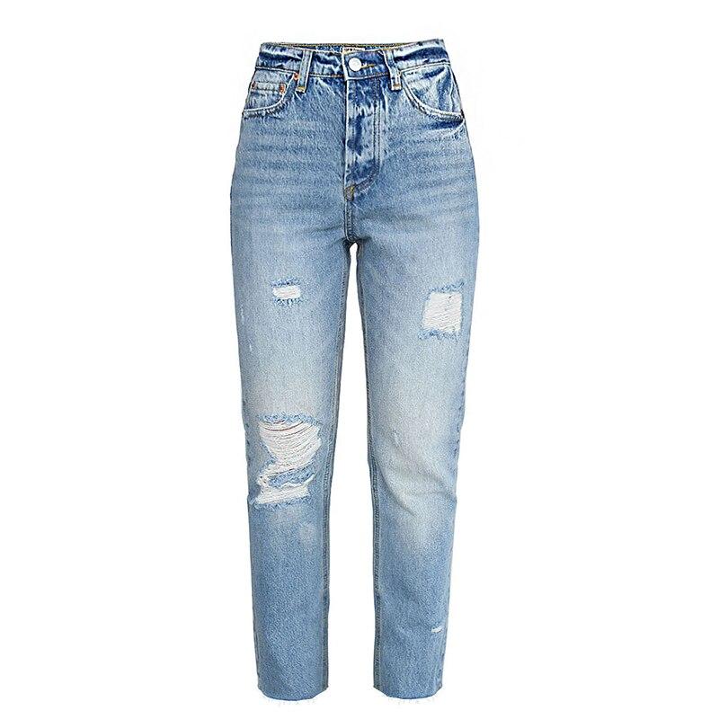 Alta qualidade das mulheres calças de brim de cintura alta puro algodão buraco rasgado calças jeans feminino casual baggy afligido calças de brim jumper