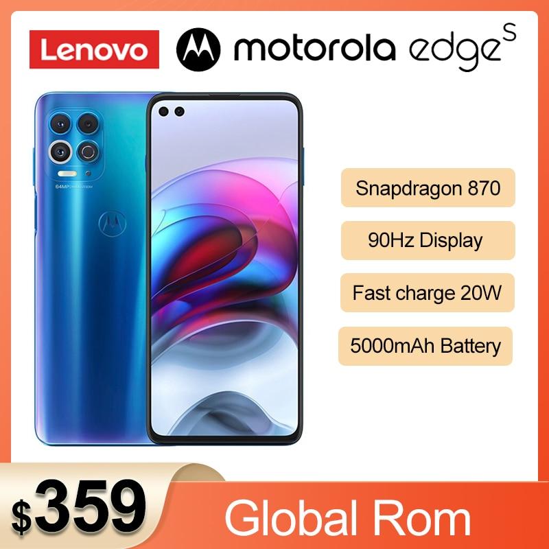 Перейти на Алиэкспресс и купить Оригинальный телефон Lenovo Motorola край s Snapdragon 870 5G смартфон 6,7 ''Android 11 90 Гц IPS 64MP 5000 мАч батарея NFC мобильный телефон