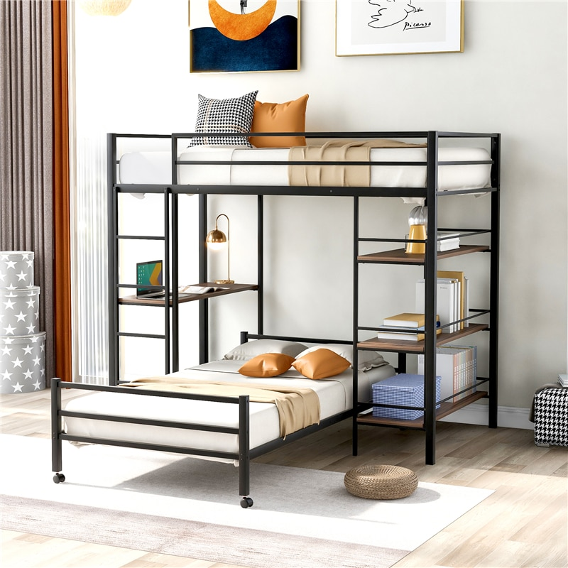 Metal Loft Bed with Shelves Movable 2 Beds Assembled Twin Size Bunk Bed with Full-length Guardrail & Ladder for Adult Child
