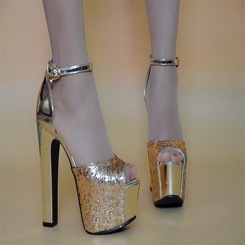 Spring/Summer 2019 new thick heel high-heeled one-word buckle sandals women 14cm trendy thin ultra-high heels sequins