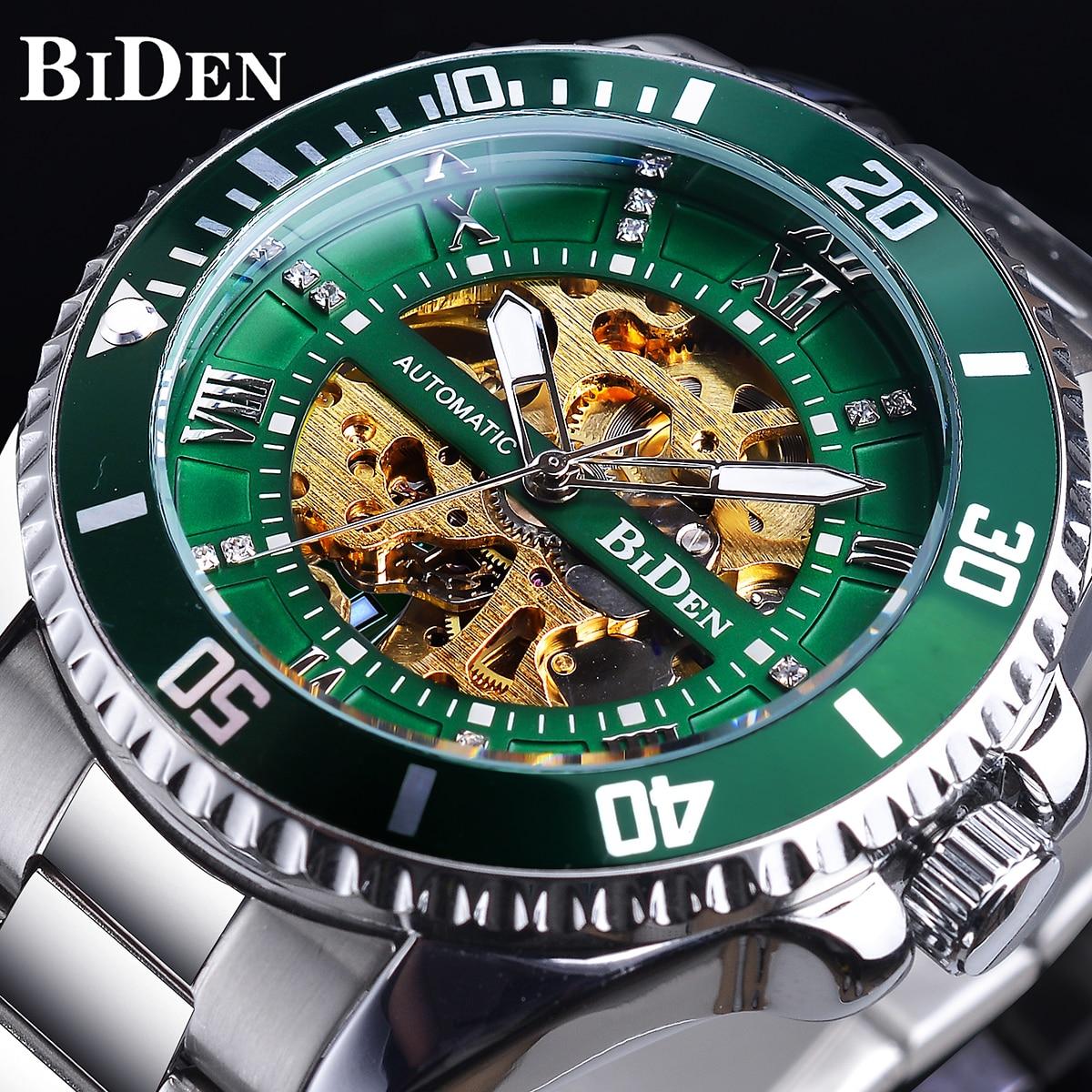 Relógio de Aço Inoxidável à Prova Biden Verde Esqueleto Dial Diamante Design Automático Dwaterproof Água Luminosa Mão Homem Negócios Relógio Mecânico