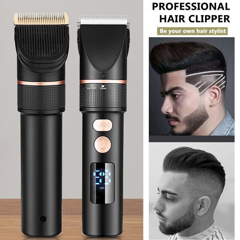 LCD Display Titanium Ceramic Blade Salon Hair Trimmer  Men Hair Cutting Barber Machine Electric Hair