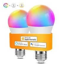 Smart WiFi LED light Bulb 15W lamp Compatible With Apple HomeKit Siri Alexa Google Assistant Dimmable E27 2700K-6500K RGB RGBW