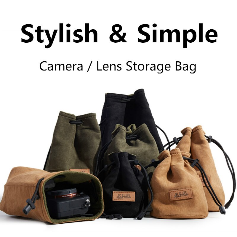 Portable DSLR Camera Bag Canon Universal Drawstring Bags Hand Held Waterproof Canvas Lens Bag for Nikon Sony Pentax Camera Case