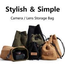 Sac pour caméra DSLR Portable, sacs à cordon universel pour Canon, sac à lentille en toile étanche pour étui pour appareil photo Sony Pentax