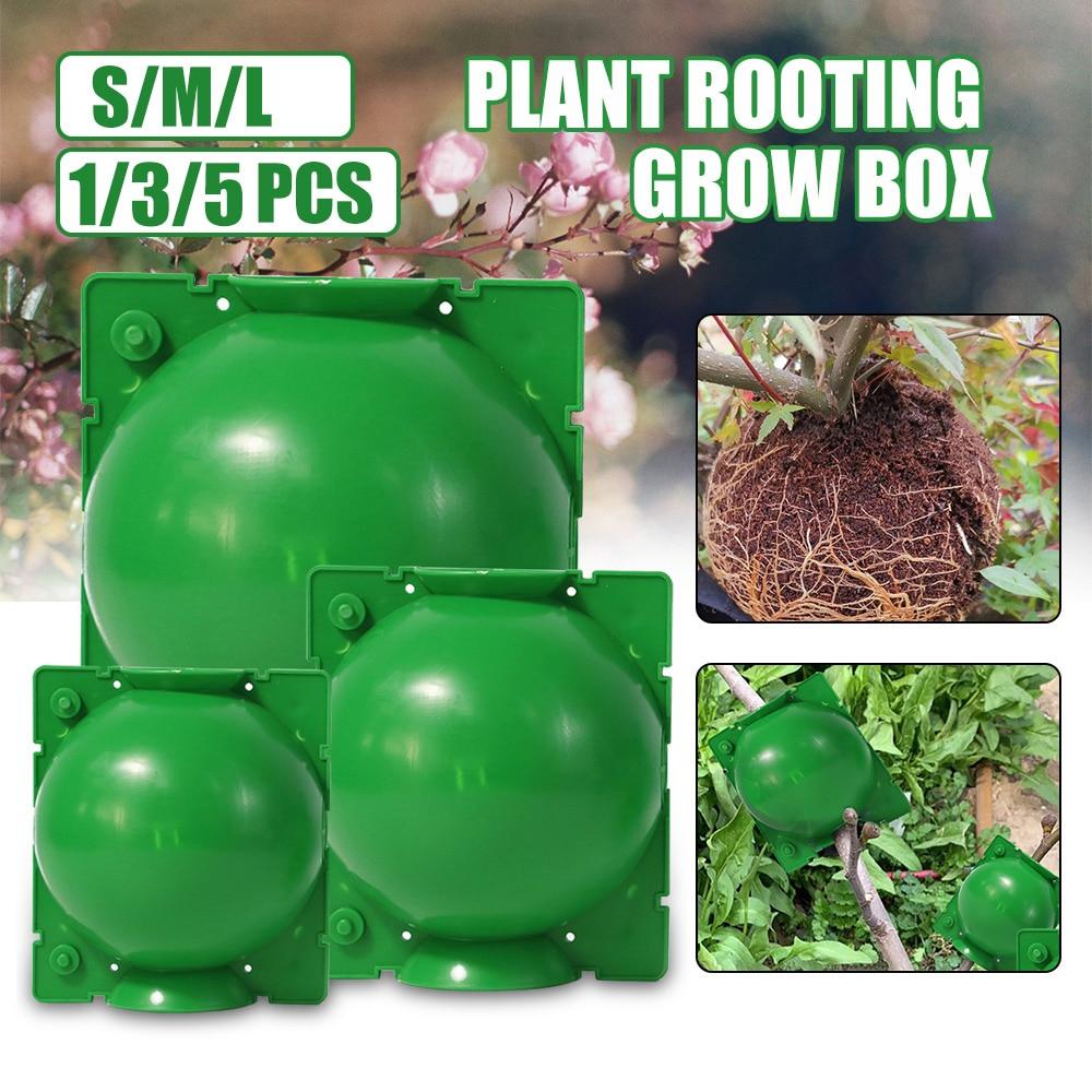 5 pçs 5/8/12cm caixa de cultivo de raiz de planta de jardinagem de alta pressão caixa de reprodução de bola de raiz para jardim enxertia enraizamento planta caixa