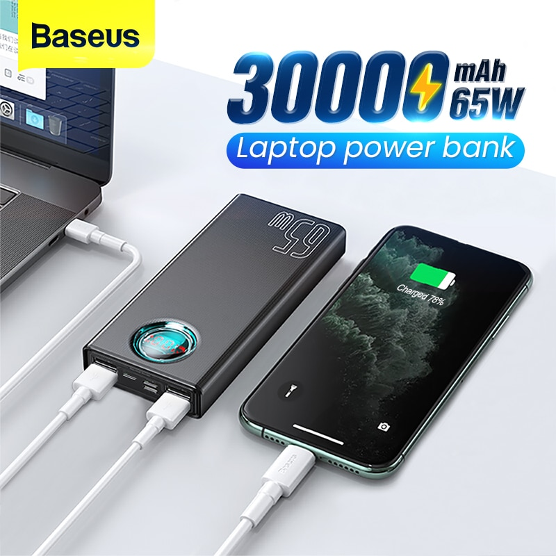 Baseus 65W Power Bank 30000mAh USB C PD Quick Charge 20000 Powerbank Portable External Battery Charger For iPhone Xiaomi Laptop