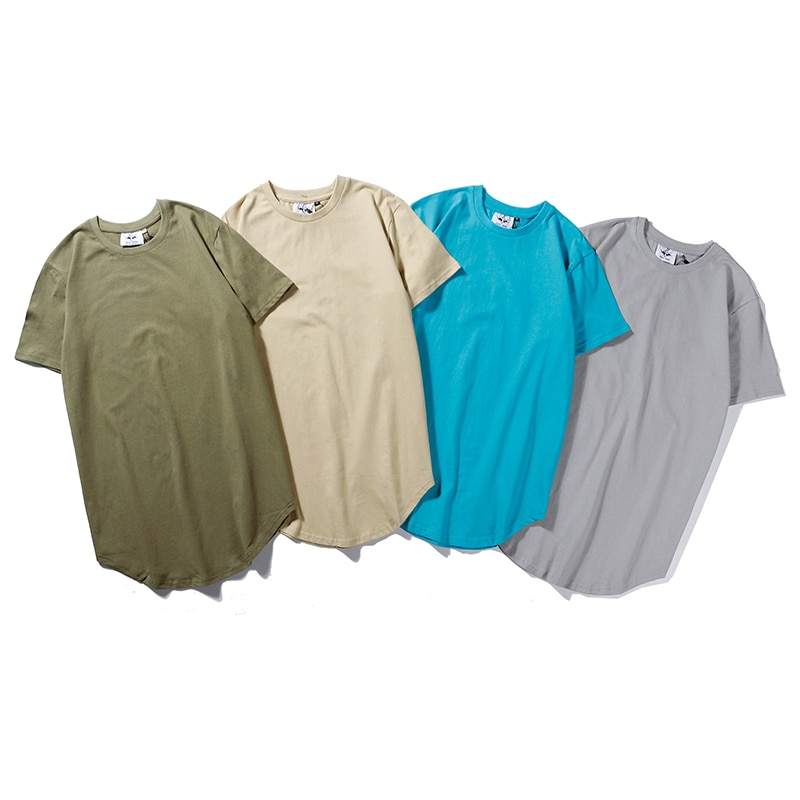 Camisa de algodão de algodão de algodão de cor sólida solta camiseta masculina kanye streetwear hip hop camiseta de manga curta
