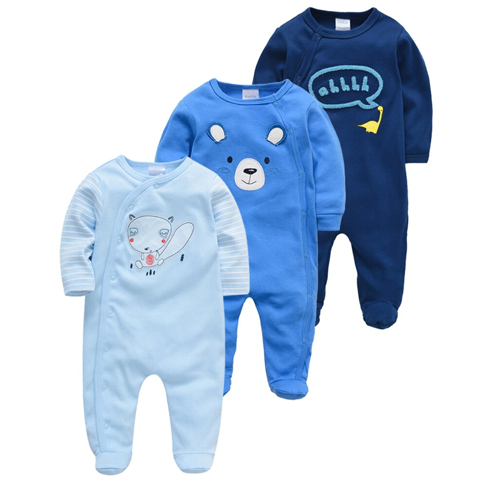 Honeyzone 3pcs Newborn Girl Boy Jumpsuit Cotton Breathable Soft Baby Clothes Newborn Infant Boy Footies