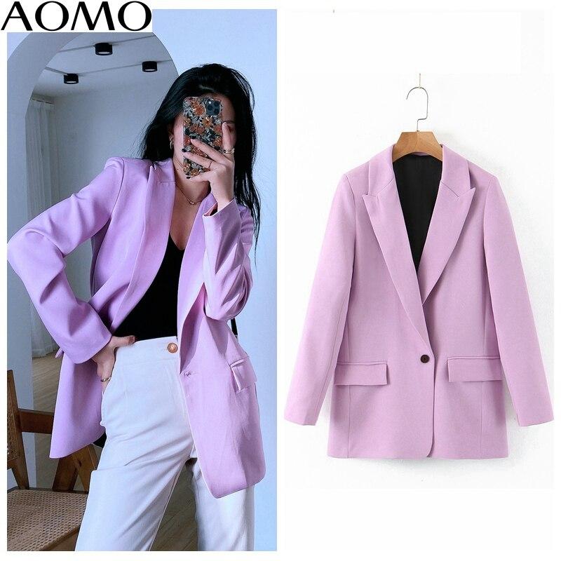 Blazer roxo feminino aomo, jaqueta de manga longa leve e elegante, para primavera, sl218a
