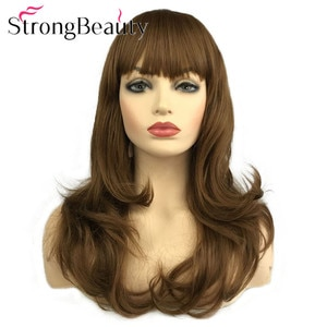 StrongBeauty Long Wavy Wigs with Neat Bang Women Synthetic Hair Natural Wig 2 Colors for Choose