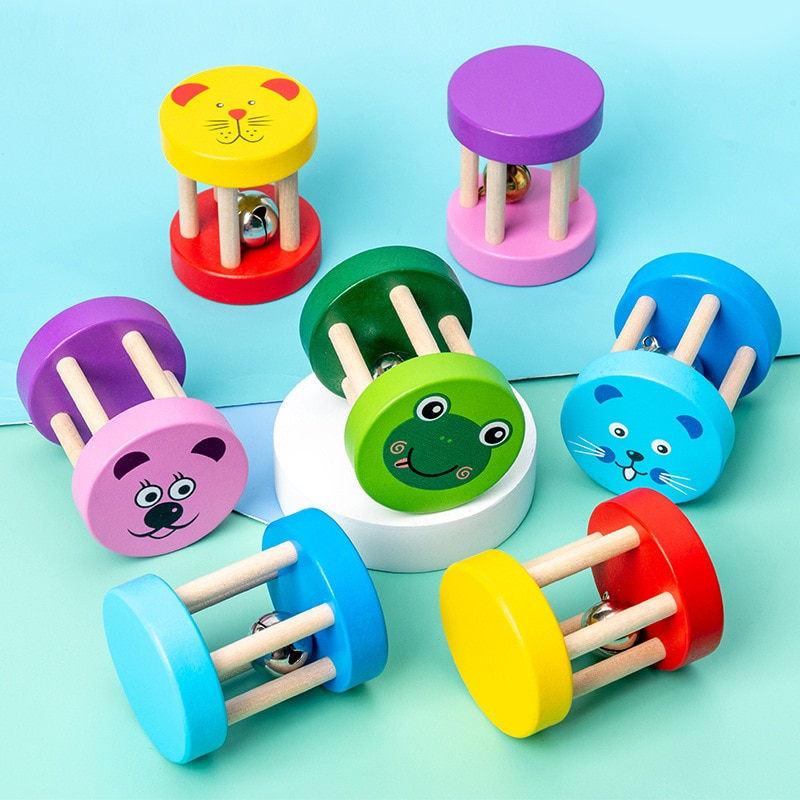 Baby Montessori Wooden Cage Bell Toys Music Handbells Musical Instruments Ringing Toys Intelligence
