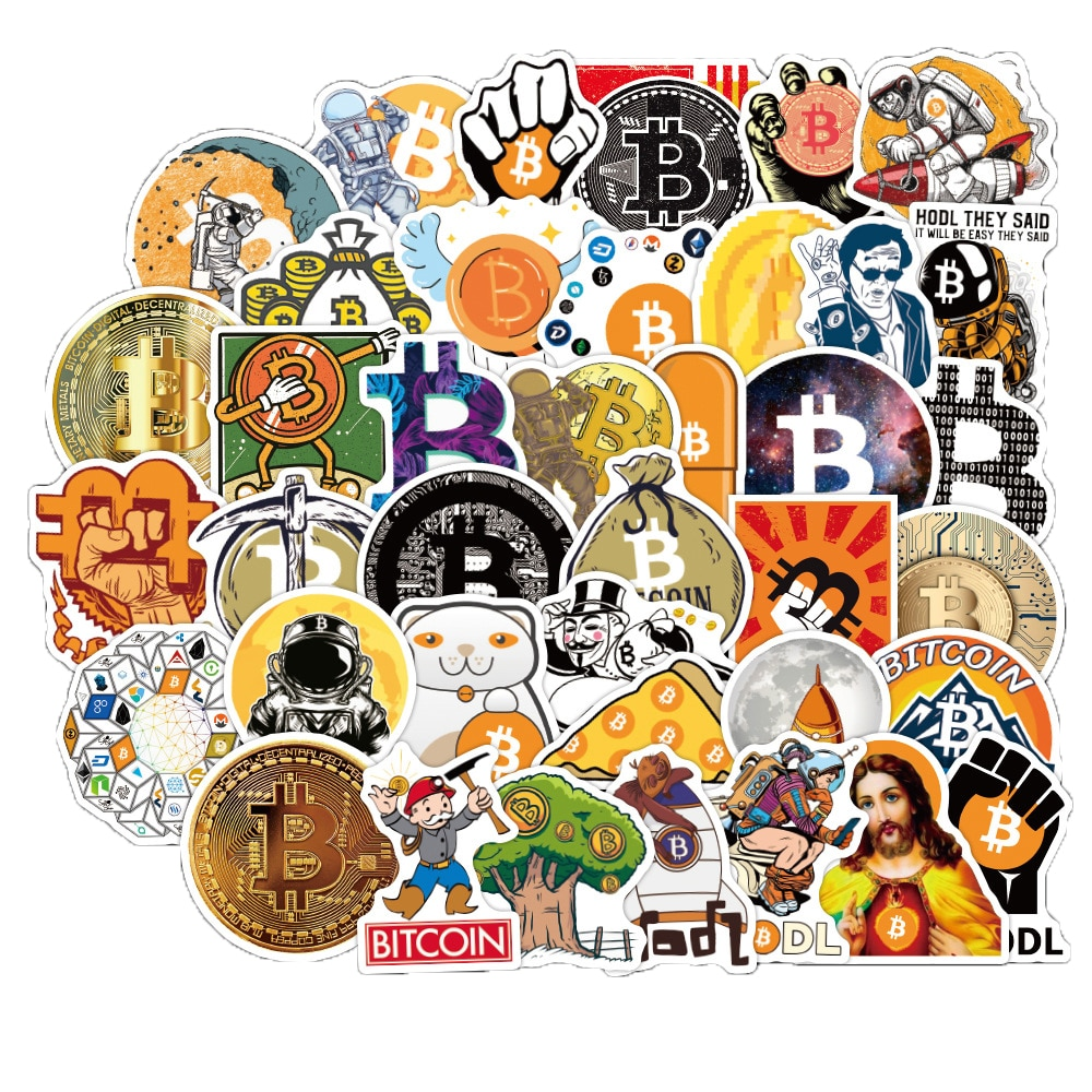 10/50PCS Bitcoin stickers pack for virtual currency graffiti decals sticker for laptop notebook guitar stationery Pegatina gifts