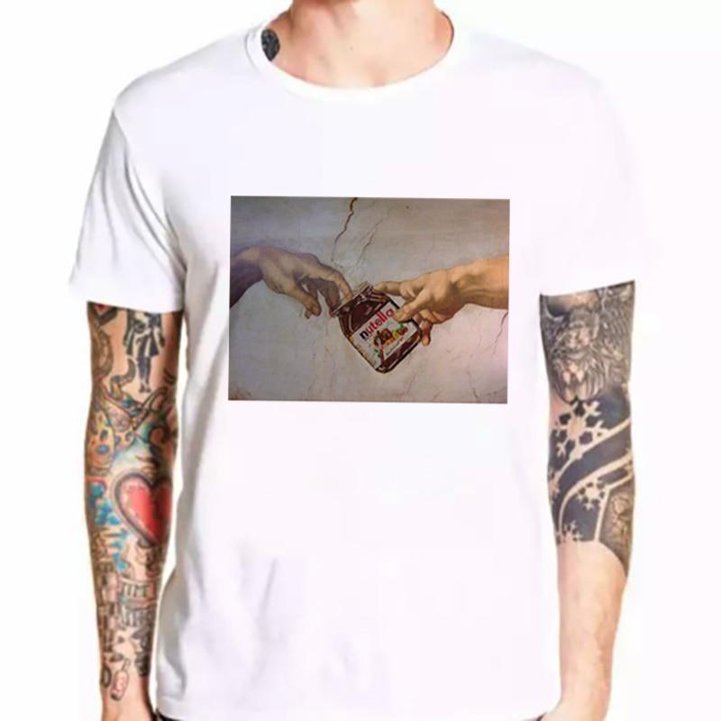 Camiseta de Michelangelo Hands Nutella Kawaii para hombre Harajuku Ullzang, camiseta a la moda gráfica, bonita camiseta de dibujos animados, camiseta gótica coreana