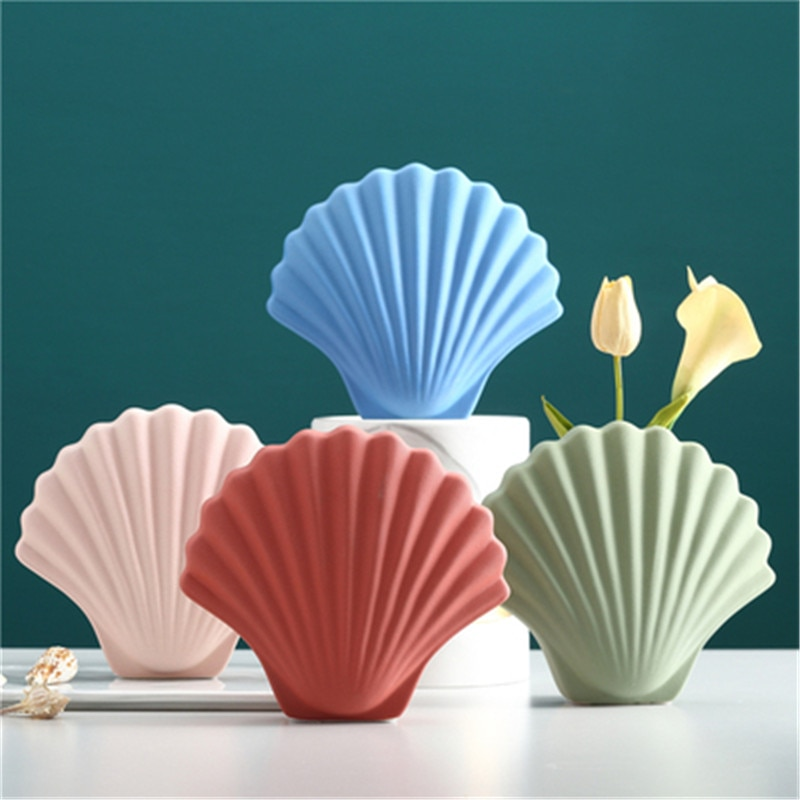 Simulación nórdica de concha marina, florero de cerámica, escaparate creativo para tienda de ropa, organizador de escritorio, maceta para flores X2894