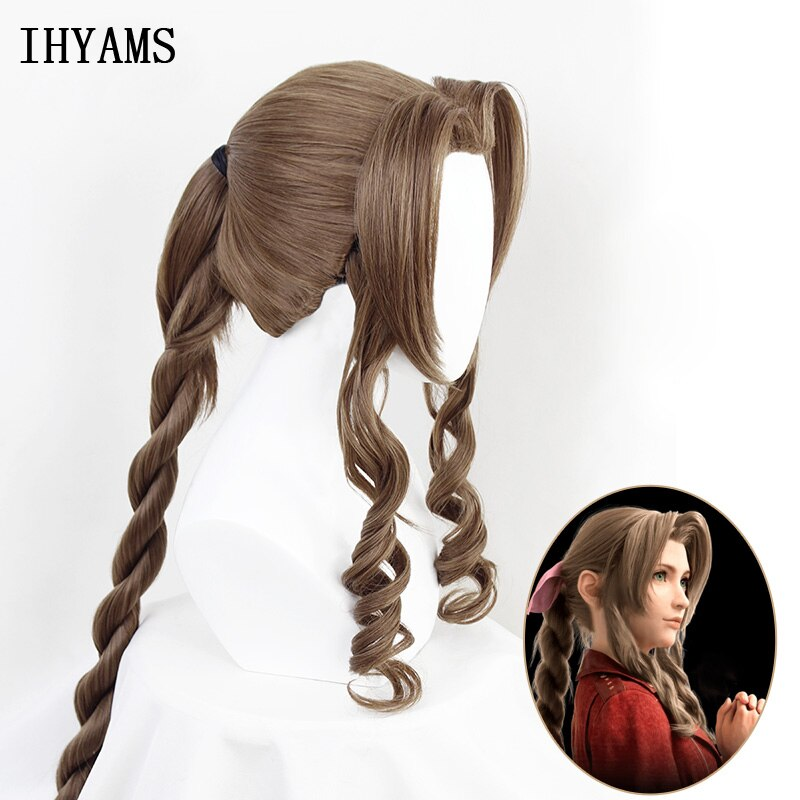 Final Fantasy VII Aerith גיינסבורו קוספליי פאות חום ארוך מתולתל פאת קוספליי עמיד בחום סינטטי שיער Peruca + פאת כובע