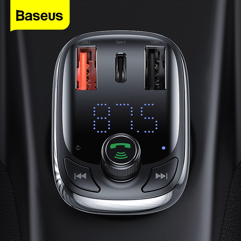 Baseus FM Transmitter Bluetooth 5.0 Handsfree Car Kit Audio MP3 Player With PPS QC3.0 QC4.0 5A Fast Charger Auto FM Modulator