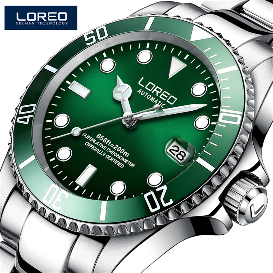 LOREO 200m Waterproof Sapphire Automatic Watch Men Luxury Mens Watches Casual Sport Diving  Mechanical Watch Reloj Hombre 9201