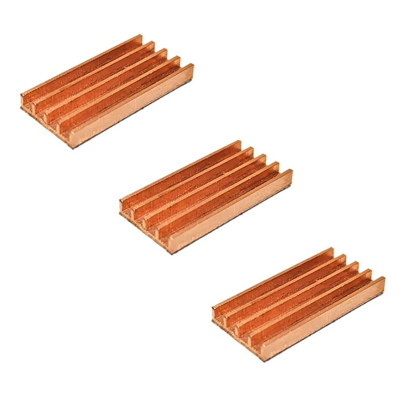 3 stücke Reines Kupfer Mini Ultra dünne kühlkörper Speicher RAM Kühlung Für VGA DDR MOS GPU IC Chipset Kühler kühler Kühlkörper 19x9x2mm
