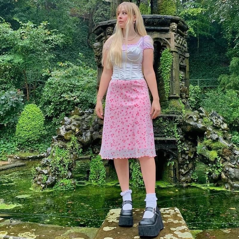 2021 summer mid length over knee A-line skirt women's screen perspective Pink Floral Skirt y2k skirt