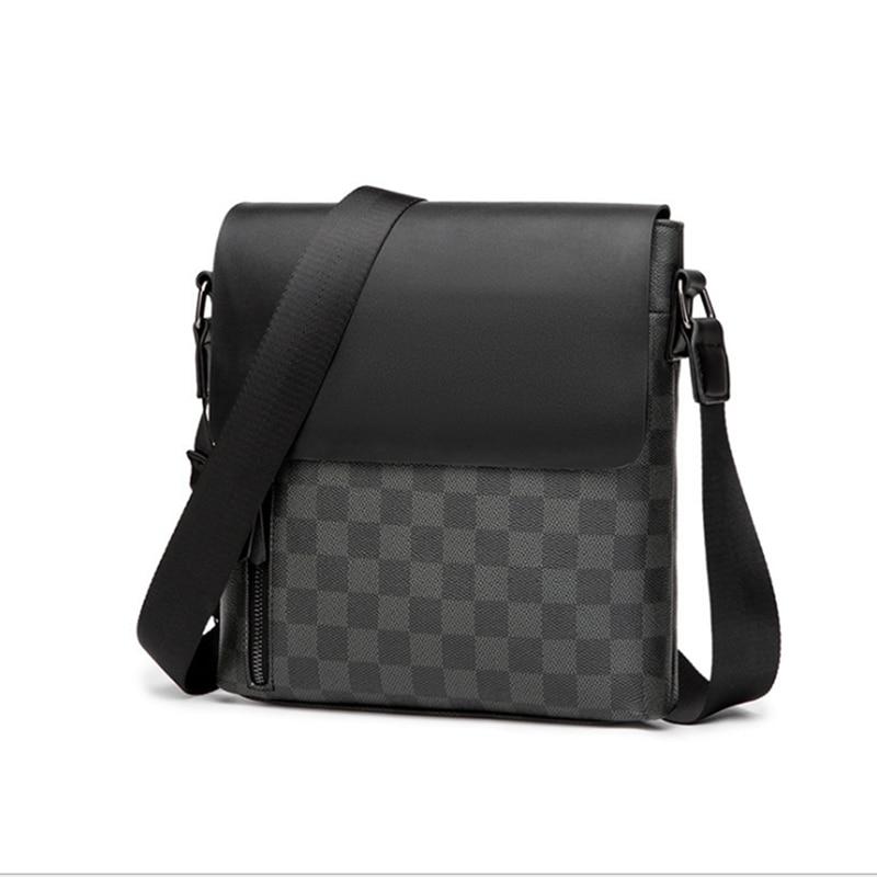 2021 New Style Brand Luxury Men's Shoulder Bag PVC Leather Plaid Designer Crossbody Message Bags Business Handbags For Men Bolso