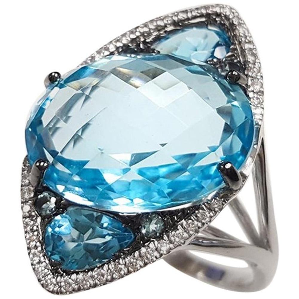 Anillo de circonita AAA brillante de corte cuadrado de Azul grande ovalado de lujo con anillo de pedrería CZ grande para mujer, anillos de joyería de moda al por mayor