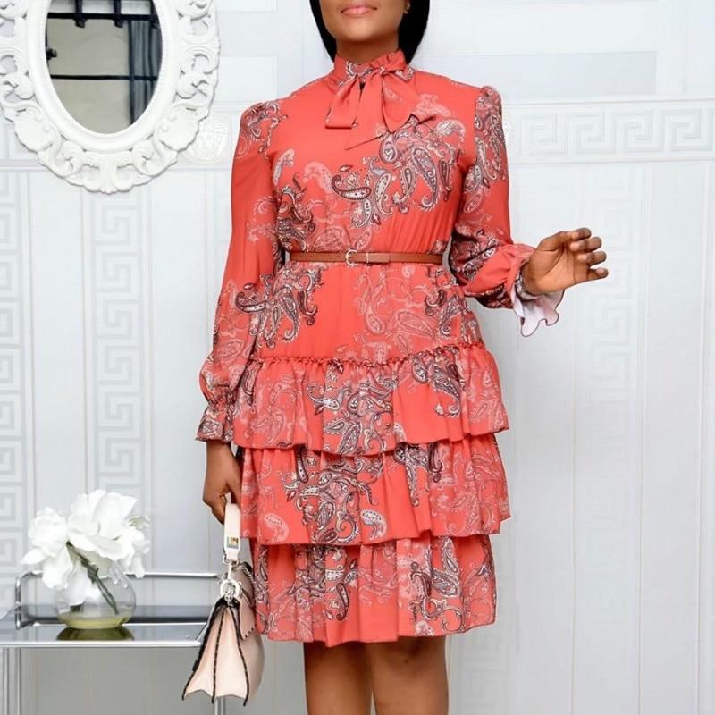 نساء فساتين مُزينة بطباعة أكمام طويلة ربطة كعكة فستان أنثى الكشكشة مطوي أفريقي موضة جميل تاريخ الحلو Vestidos حجم كبير