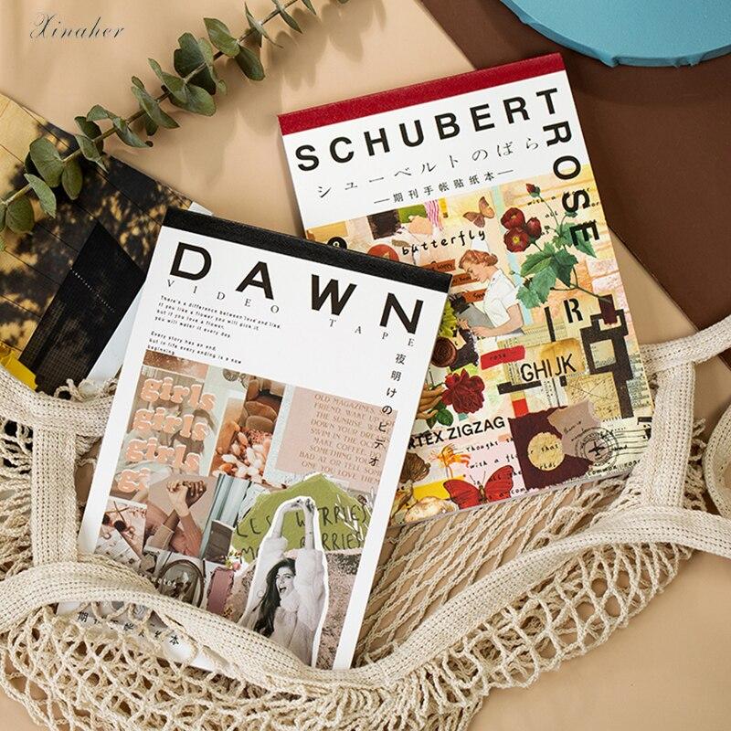 50 Uds. Cuaderno de Material de revista de moda para niñas, planificador de papel, artesanía, papel recortes, Vintage, decoración DIY, álbum de fotos