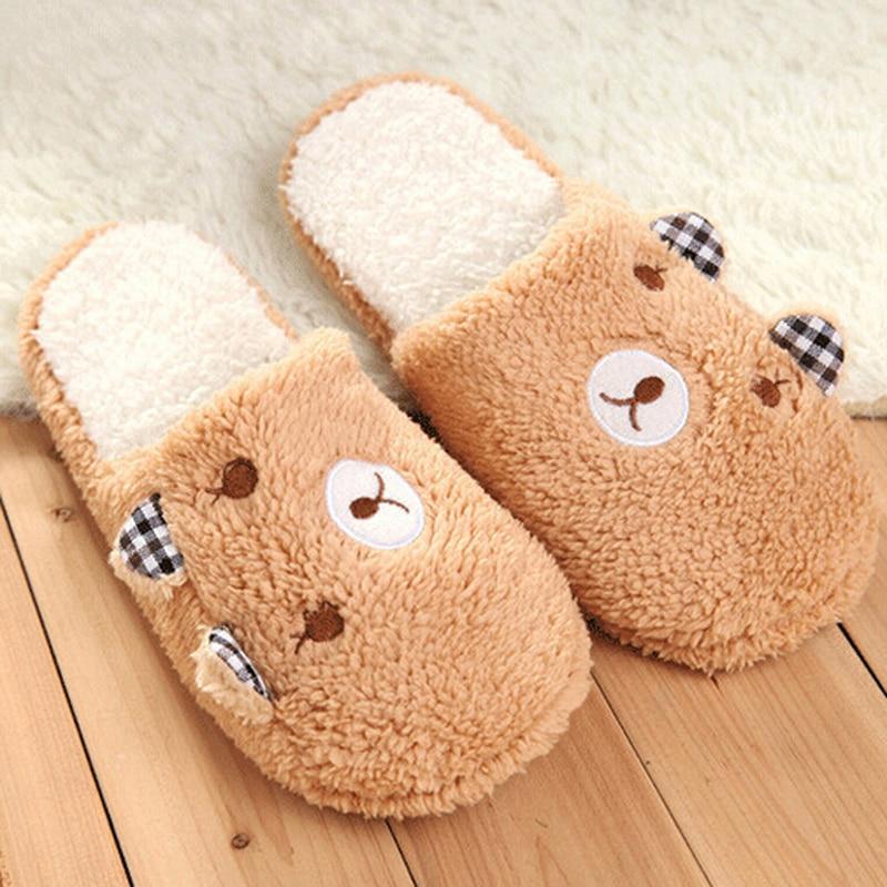 Chinelos femininos macios de algodão, chinelos para mulheres de desenho animado, fundo de urso, sapatos para casa, quarto, calçados pelúcia,