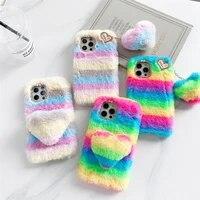 signalshin colorful rainbow heart pendant phone case for xiaomi mi 11 lite 8se 9 10t pro cc9e poco x3 nfc a3 soft plush cover