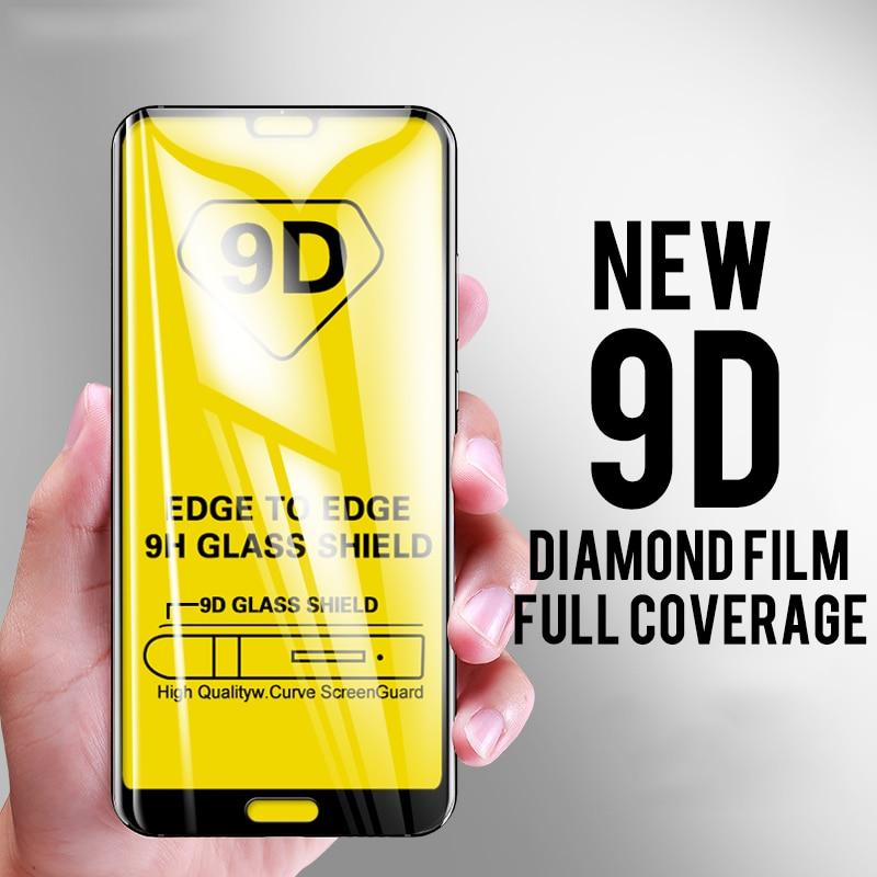 10 pçs 9d vidro temperado para huawei p8 lite 2017 p9 mini p10 plus p20 pro p30 cola completa cobertura de tela película protetora