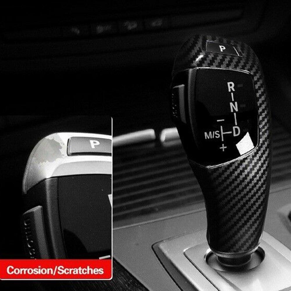 1pc Car Gear Lever Shift Knob Cover Black For BMW X5 X6 E70 E71 2008-2013 Carbon Fiber Gear Lever Shift Knob Cover Trim