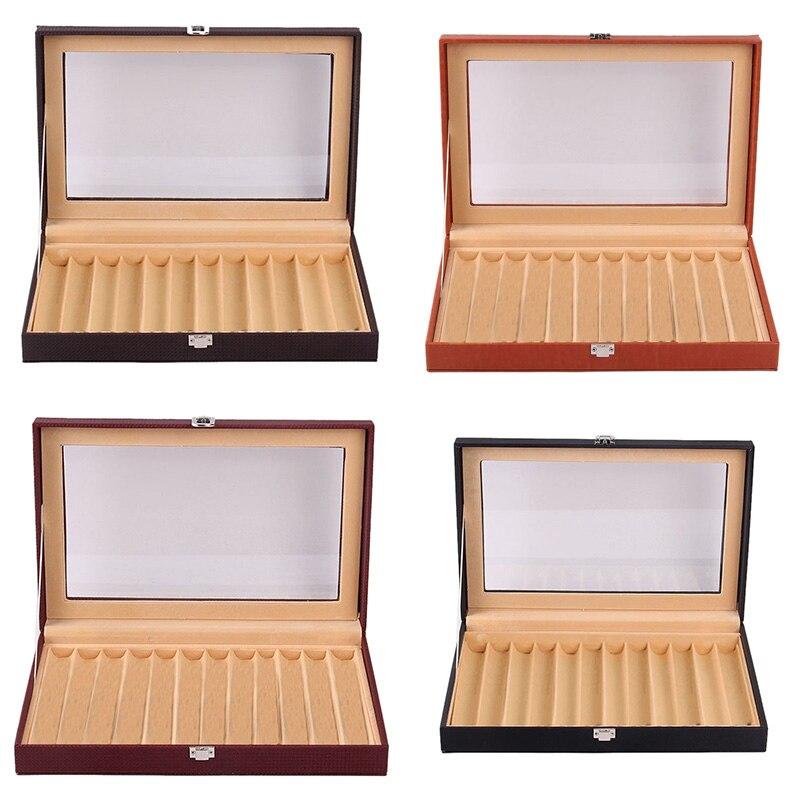 12 فتحات خشبية قلم حبر صندوق عرض ، فاخر تصدرت بو الجلود القلم عرض صندوق مجوهرات منظم