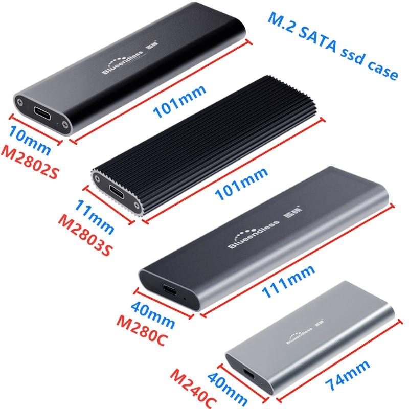 M.2 SATA NGFF m.2 ssd case portable SSD Hard Disk Enclosure Type c USB 3.0 2242/2260/2280 SSD Enclosure Aluminum SSD Caddy