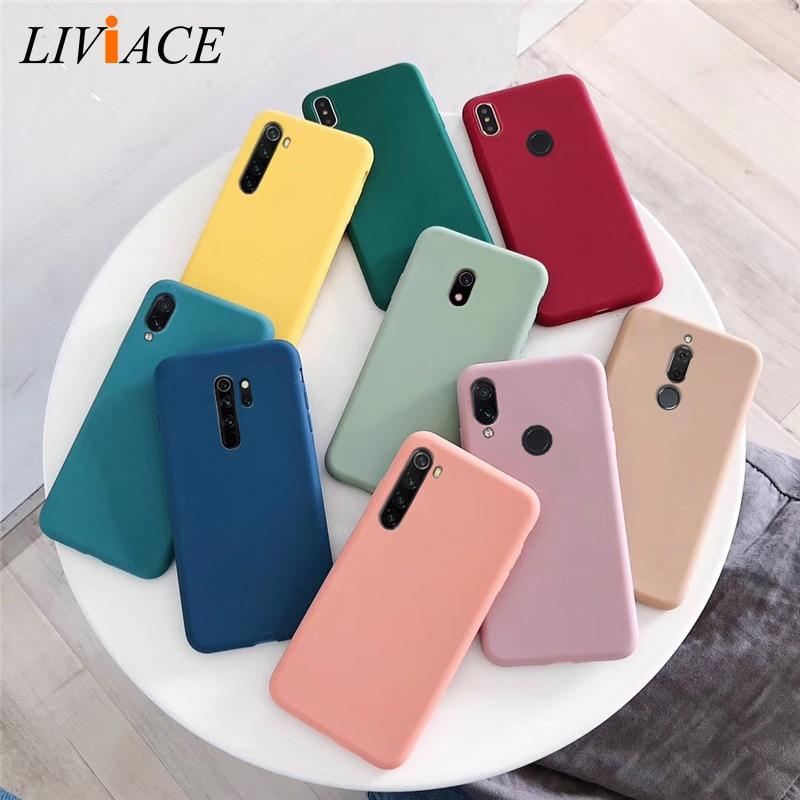 solid color soft silicone tpu case on for xiaomi redmi note 8 7 6 5 pro 8a 7a 8T matte back cover xiomi redmi note8 note 8pro