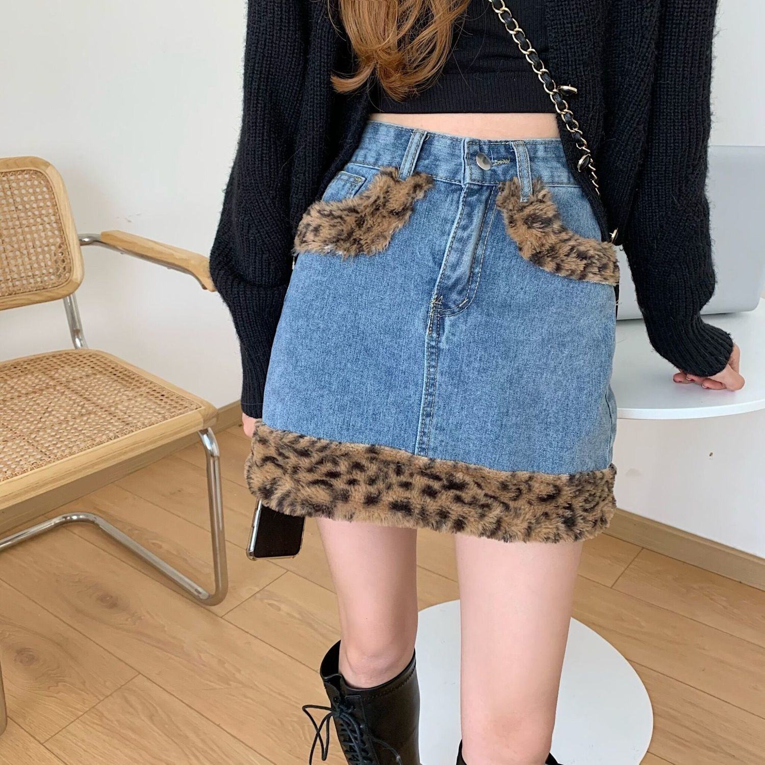 2020 autumn womens street leopard print stitching denim bust A-line skirt vintage  Solid A-Line Empire a line mini