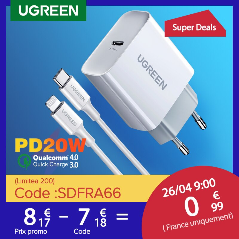 AliExpress - UGREEN Quick Charge 4.0 3.0 QC PD Charger 20W QC4.0 QC3.0 USB Type C Fast Charger for iPhone 12 X Xs 8 Xiaomi Phone PD Charger