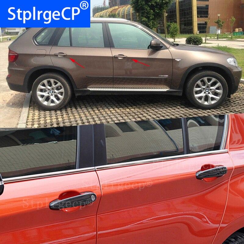 Para BMW x5 E70 xDrive 30i 48i 35d 35i 50i 40d M50d 2008-2013, accesorios, 100% de fibra de carbono auténtica, cubierta de manija de puerta exterior de coche