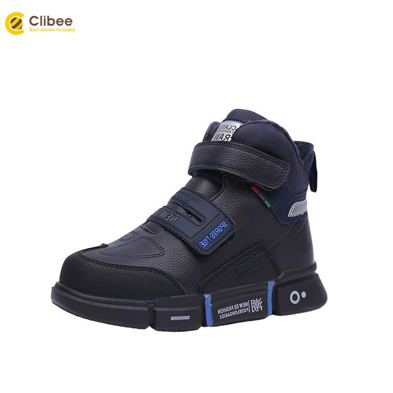 CLIBEE الأطفال الشتاء أحذية الأولاد موضة الشارع مدرسة أحذية أطفال بولي PU الأحذية الجلدية مع بطانة الصوف و المضادة للانزلاق المطاط وحيد