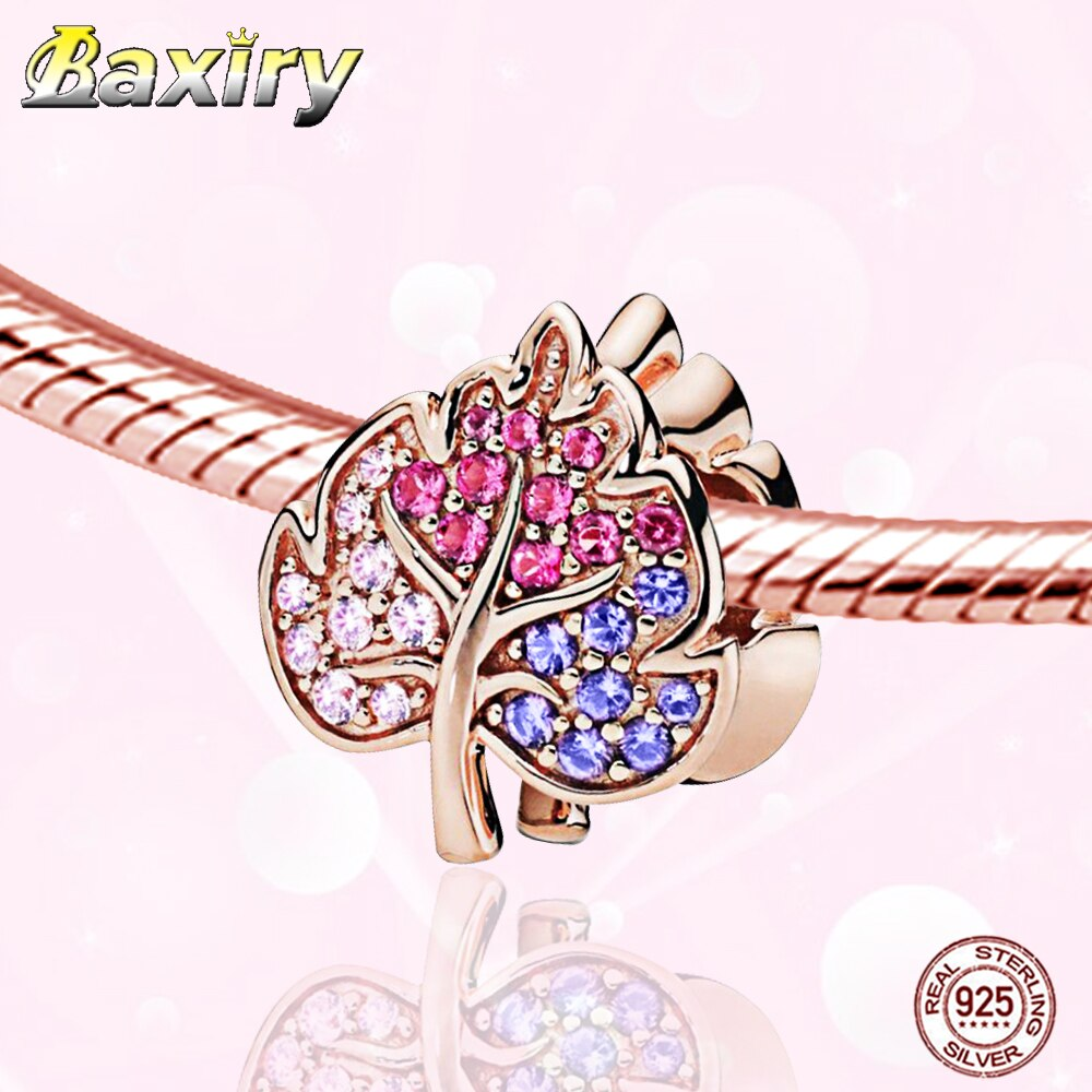 Fine Charm Bracelet DIY Beads 925 Sterling Silver Rose Gold Beads Fit Bracelet Charms Silver 925 Original Beads Jewelry Making