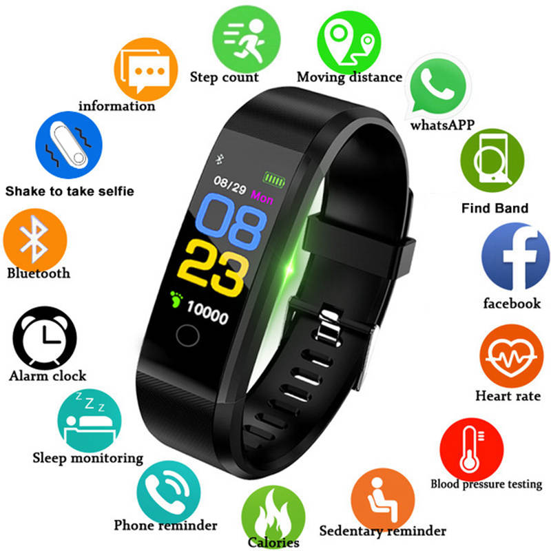 Health Bracelet Heart Rate Blood Pressure Smart Band Fitness Tracker Smartband Bluetooth Wristband h