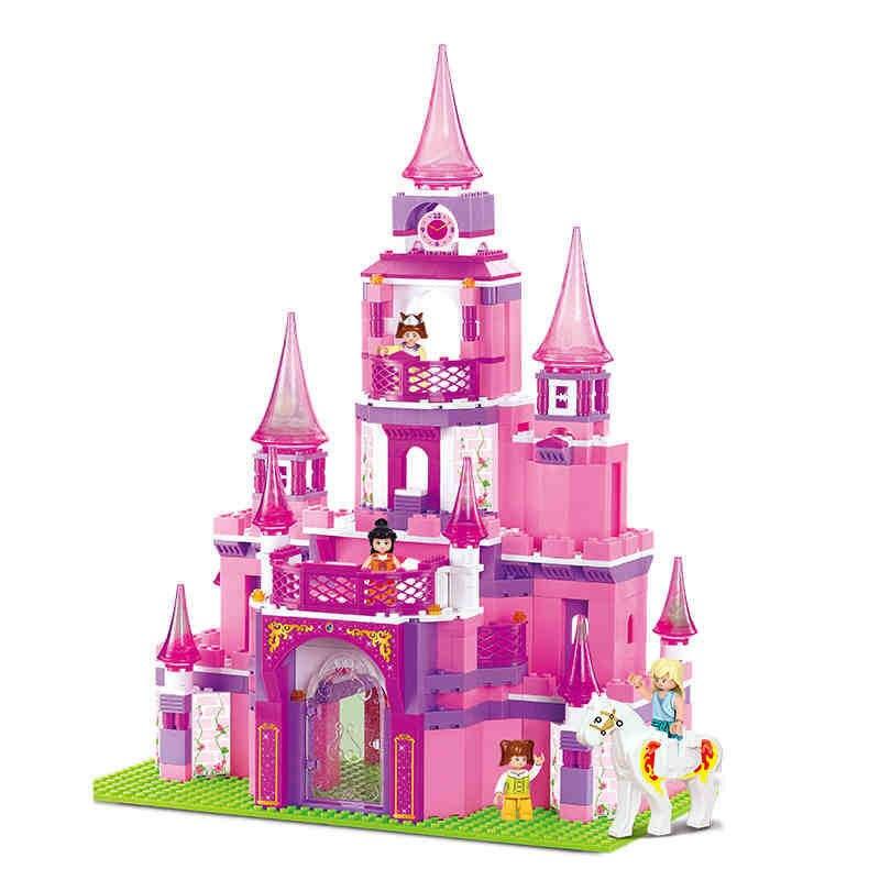 Sluban Rosa Traum Mädchen Prinzessin Caste villa Montage bausteine ziegel Modell Spielzeug für kinder mädchen geschenke