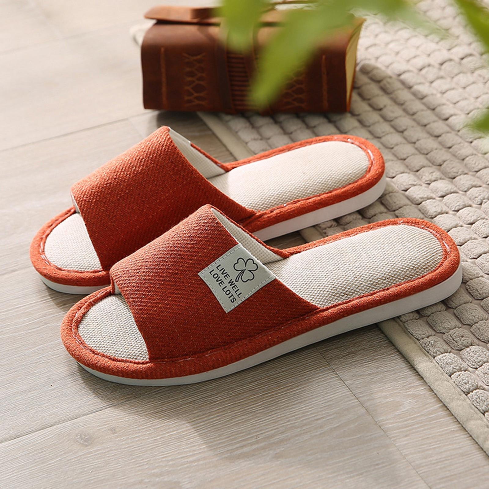SAGACE Slippers For Women Men Linen Shoes Women Household Slippers Indoor Floor Shoes Flats Heel Non