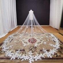 Fotos reales, velo de novia largo con apliques de encaje, blanco marfil, catedral, velo de novia de 3,5 metros, accesorios de boda 2020