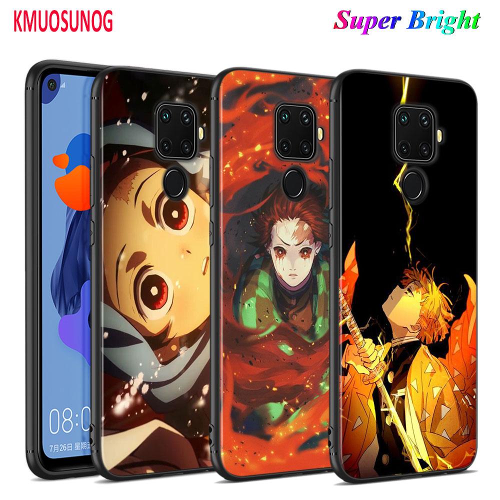 Funda negra, carcasa para teléfono Demon Slayer Kimetsu no Yaiba para Huawei Mate 30 20 20X 10 Lite Y9 Y7 Y6 Y5 Pro Prime Lite 2019 2018
