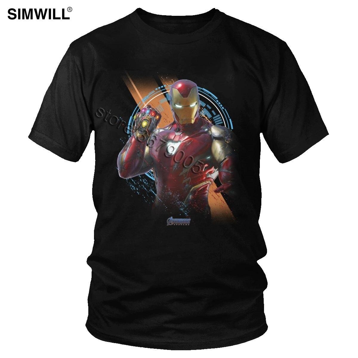 Vintage poderoso Iron Man Camiseta Infinity War Tee Cool Avengers Super Hero Marvel manga corta Camiseta algodón gráfico camiseta