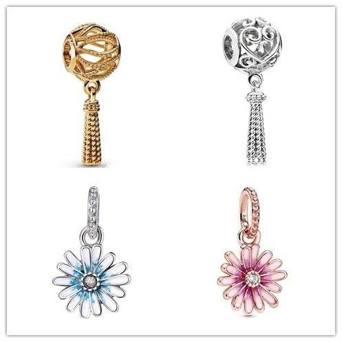 Аутентичные 925 стерлингового серебра браслеты с подвесками Розовый Дейзи цветок мотаться очарование бисера Fit для женщин Пандора браслет и ...