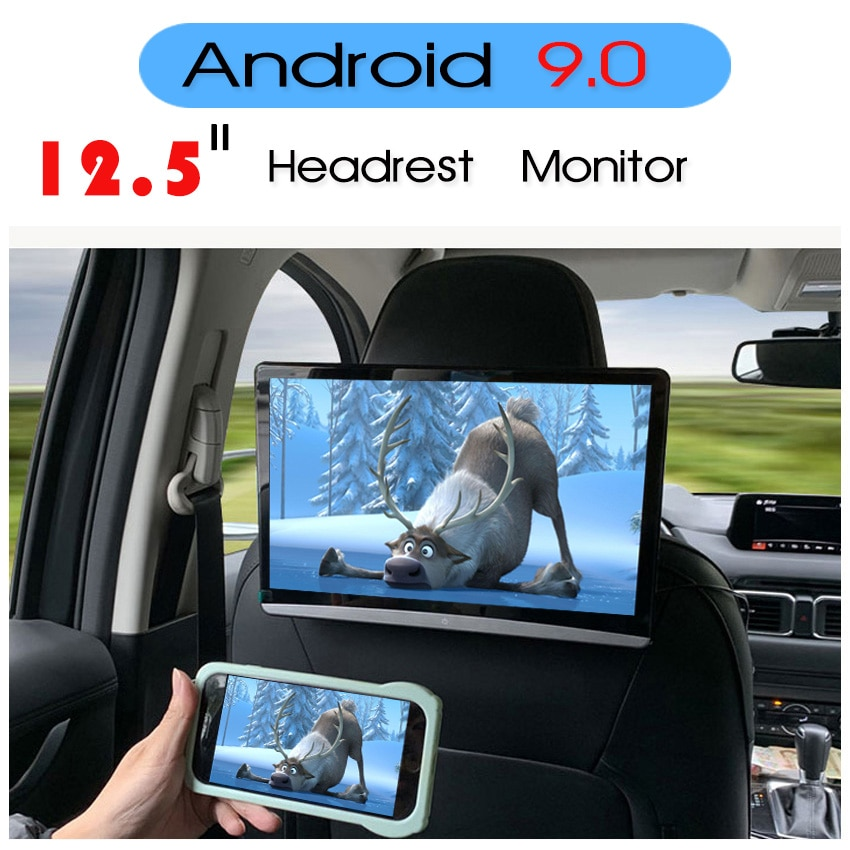 KANOR 13.3Inch Car Headrest Monitor Android 9.0 2GB+16GB 1920*1080 4K Touch Screen WIFI/Bluetooth/US