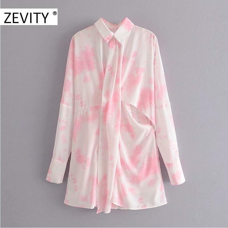 Zevit nova moda feminina gravata tingida pintura casual protetor solar camisa vestido senhoras estilingue interior chique duas peças vestidos ds4343