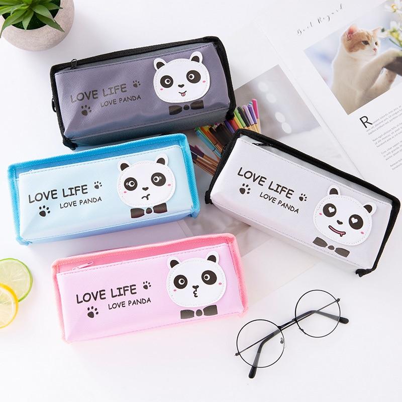 Estuche de lápices Kawaii panda de dibujos animados PU coreano simple chica pequeño fresco suministros escolares creativo lindo animal papelería estuche de lápices